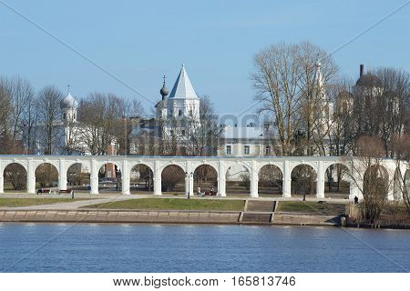 View of Yaroslavovo dvorishche in the April afternoon. Historic center of Veliky Novgorod. Russia