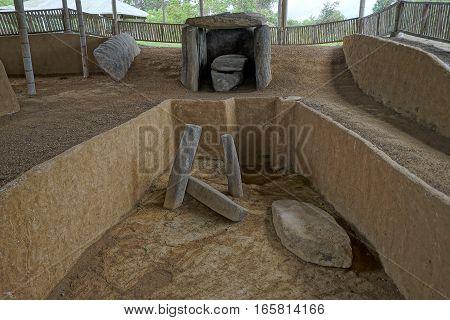 pre-columbian tomb in Altos de los Idolos Colombia