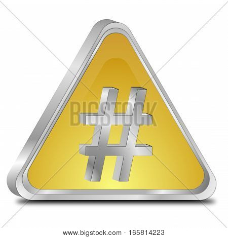 golden Hashtag Button on white background - 3D illustration