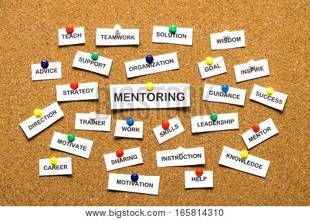 Mentoring From Cutout Newspaper Headlines Pinned To Cork Bulletin Board