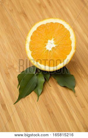 fresh orange on the wooden platte for background