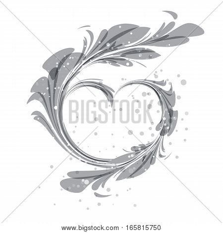 Art silhouette heart ornament on white background