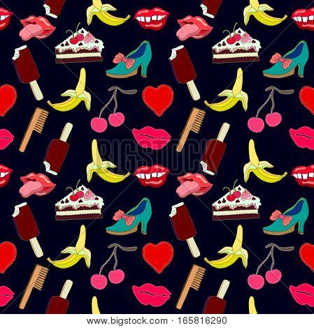Hand drawn stickers inspired by 1980-1990s comics design. Lips, sweets, heart, shoes.