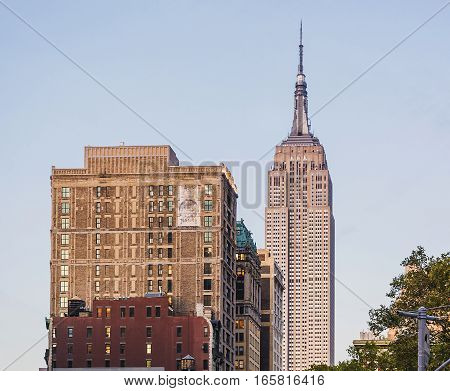 New York USA November 4 2016: Empire state building facade. It stood as the world's tallest building for more than 40 years from 1931 to 1972