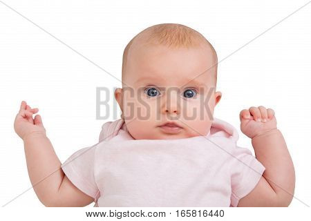 Portrait Of An Innocent Child On White Background