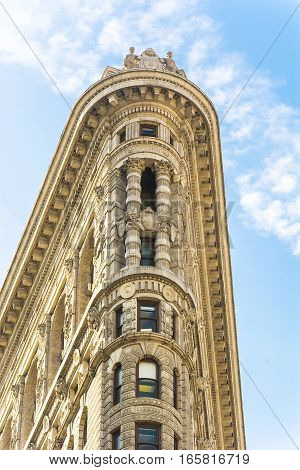 New York USA November 2016: Flat Iron building facade from Broadway in Manhattan New York City. The Flat Iron building a groundbreaking architectural feat was completed in 1902.