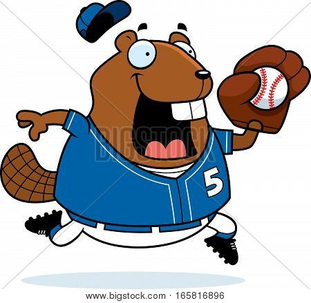 Cartoon Beaver Baseball