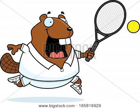 Cartoon Beaver Tennis