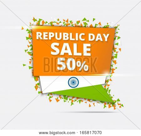 Indian Independence Day Sale Tricolor Sale Paper Tag Sale Paper Banner Sale Poster Sale Flyer Sale Ribbon 50% Off Stylish Sale Background with Ashoka Wheel for 15th of August celebration.