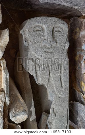 stone sarcophagus carved cover in San Agustin Colombia