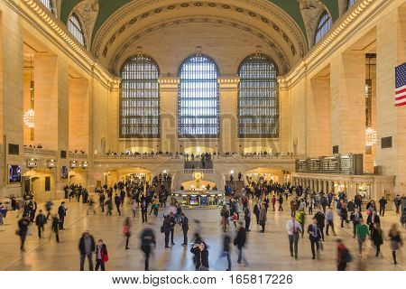New York USA november 2016: Main hall Grand Central Terminal New York