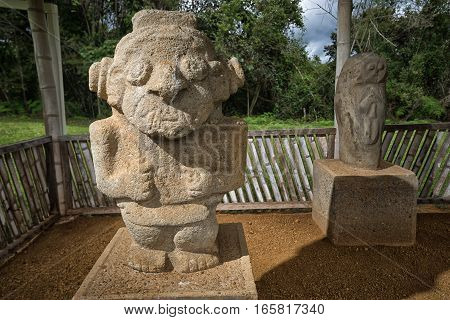 ancient pre-columbian statues in San Agustin Colombia