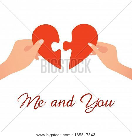 Two people holding pieces of heart reuniting it into one. Vector illustration