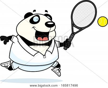 Cartoon Panda Tennis