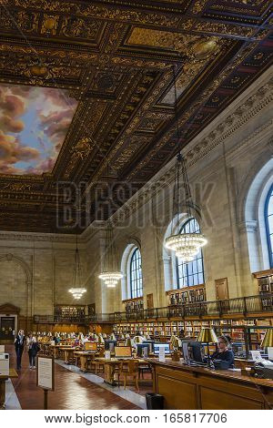 New York USA november 2016: people study in the New York Public Library in Manhattan New York City. New York Public Library is the third largest public library in North America.
