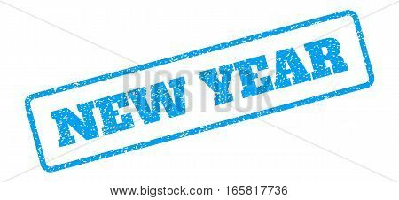 Blue rubber seal stamp with New Year text. Vector message inside rounded rectangular frame. Grunge design and scratched texture for watermark labels. Inclined blue sticker on a white background.