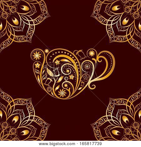 Seamless Gold Floral Cup and Mandala Pattern. Seamless pattern for your design, invitation card, menu, cafe, bar and other drink wrapped projects. Fabric, Paper, Textile Wrapped Cup Pattern.