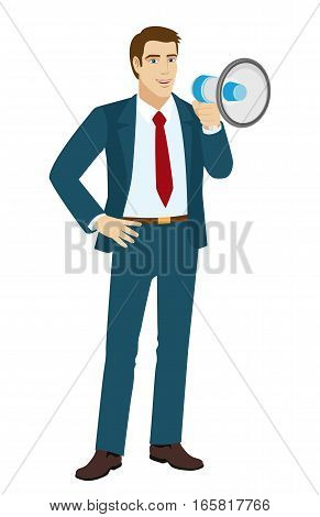 Businessman with loudspeaker. Businessman standing with his hand on his hip. Vector illustration.