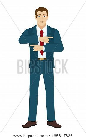 Businessman showing two directions. Two index fingers pointing. Businessman showing somewhere. Vector illustration.