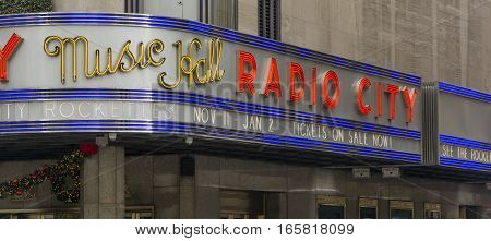 New York, USA, november 2016: Radio City Music Hall is home to the annual Christmas Spectacular starring the Rockettes.