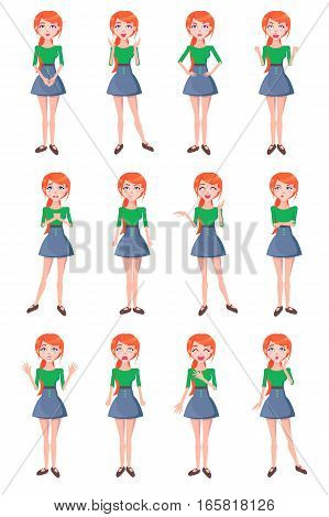 Set woman gestures and emotions happy, angry, funny, wonder, cry, mistrust, love, hate. Person facial expression on flat vector illustration style. For baby education visibility of feelings