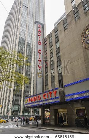 New York, USA, november 2016: New York City landmark, Radio City Music Hall in Rockefeller Center is home of the Rockettes and famous annual Christmas Spectacular.