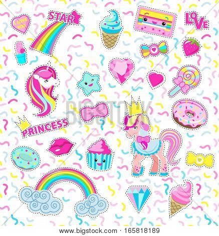 Vector cut-out illustration for little princess. Rainbow, unicorn, cakes, ice-cream, lollipop, diamant, star, cassette in magic flat style design. For girls, postcards, decorations Stickers isolated