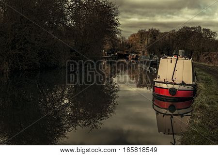 Narrow boats on the Grand Union canal