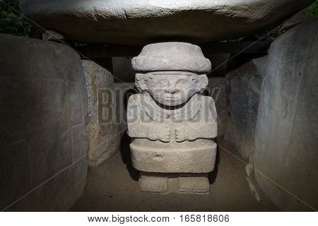 ancient pre-columbian tomb in San Agustin Colombia in ALtos de los Idolos San Agustin Colombia