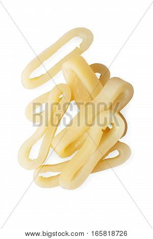Fresh raw calamari rings isolated on white background. Seafood cooking ingredient