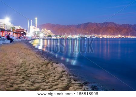 Sunset Over Eilat, Israel And Aqaba, Jordan