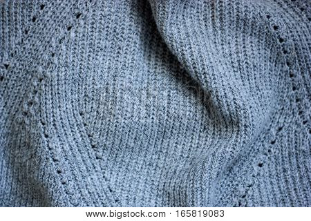 Background gray wool with a large viscous closeup