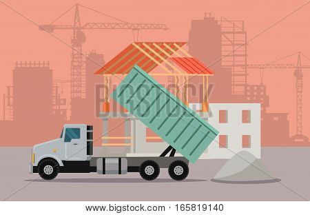 Trucking vector banner. Truck with concrete at building area. Cargo concept in flat style. For cargo companies, advertising. Transportation of goods and materials by heavy construction tipper