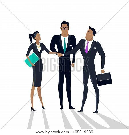 Teamwork vector concept. Flat design. Gender equality in business. Men and woman business partners holding hands. Relations of partnership. Illustration for start-up, company ad. On white background.
