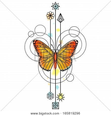 Abstract techno pattern with butterfly and geometric elements on white background. Tattoo modern symbol with watercolor effect.