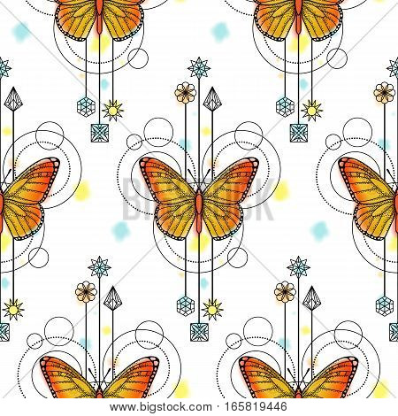 Abstract techno seamless pattern with butterfly and geometric elements on white background. Modern wallpaper with watercolor effect.