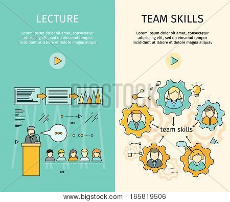 Lecture and team skills vector web banners. Flat style. Self development, personal qualifying training. Illustration for educational companies, career courses advertising, web page design