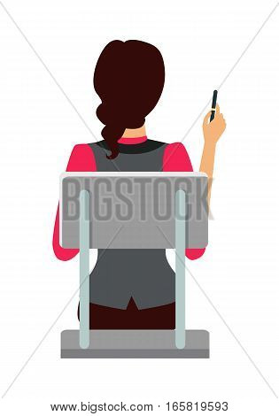 Woman sitting on the chair and pointing on something by pen. Back view. Women at work. Endless work seven days a week. Working moments. Part of series of work at the office. Vector illustration