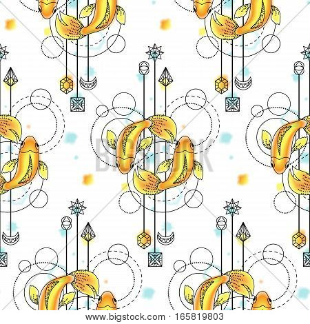 Abstract techno seamless pattern with fishes and geometric elements on white background. Modern wallpaper with watercolor effect.