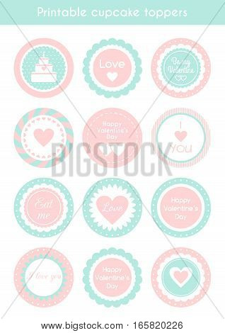 Vector set of circle printable cupcake toppers, labels for Valentine's day party