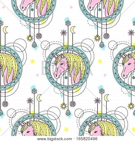 Abstract techno seamless pattern with unicorn and geometric elements on white background. Modern wallpaper with watercolor effect.