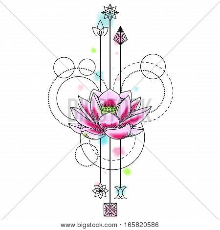 Abstract floral techno tattoo with lotus and geometric elements on white background. Floral symbol with vector watercolor effect.