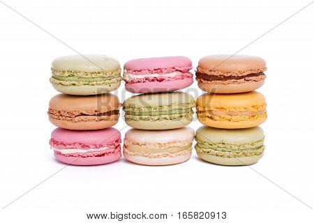 Cake Macaron Or Macaroon Isolated On White Background, Sweet And Colorful Dessert