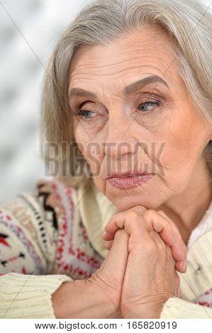 Portrait of a beautiful thoughtful senior woman