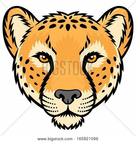 A Cheetah head logo. This is vector illustration ideal for a mascot and tattoo or T-shirt graphic.