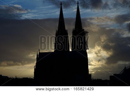 Cologne Cathedral silhouette in front of amazing sky cityscape Köln