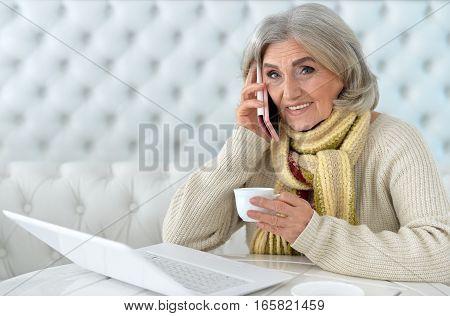 mature woman using laptop , talking on phone