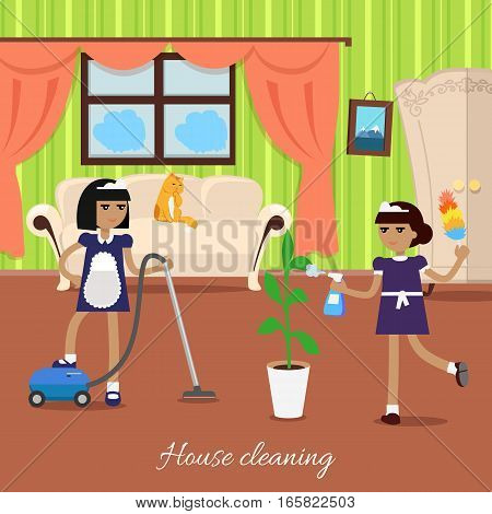 House cleaning. Two girls in blue uniform and white apron make the house cleaning. Women in light living room with sofa, window, wardrobe vacuum the carpet and water the flowers. Vector illustration