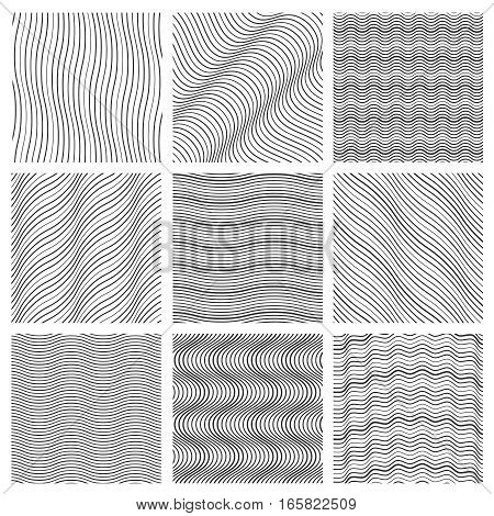 Geometric wavy pattern set. Curved lines streep vector simple wave backgrounds. Monochrome decoration wavy background. Vector illustration