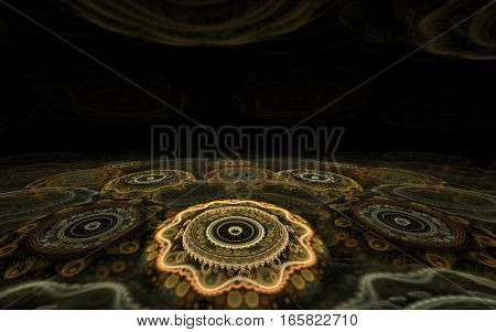 volumetric image pattern in the form of fantastic flowers are arranged on the surface of a sphere with black around and blur effet
